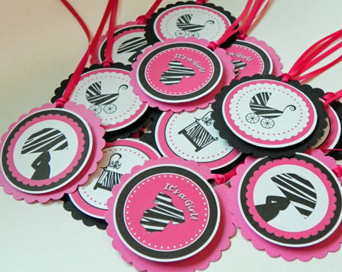 Party Favor Gift Tags Pink and Black Zebra Print - Girl Baby Shower Decorations