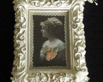 Hand Altered Frame with Sepia Postcard, Ribbonwork, and Bobbin Lace - Mixed Media- Altered Art