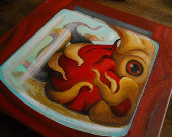Valentine's Day Squiddums Original Painting Squid Sea Creature Heart Human Heart Anatomical Heart Illustration