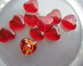 Transparent Ruby Red Glass Heart Beads Or Pendants