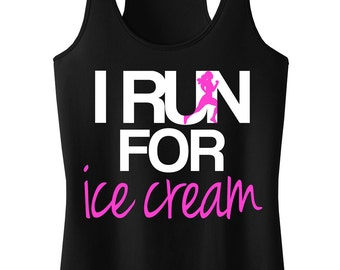I RUN for Ice Cream Tank Top, Workout Clothing, Workout Tanks, Gym Tank, Motivational Workout, Running
