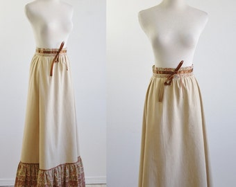 Vintage 70s Boho Skirt, 1970s Maxi Skirt, 70s Skirt, Beige Skirt, Floral Brown Skirt, Peasant Skirt, Ruffle Skirt, Waist 26 Small Medium