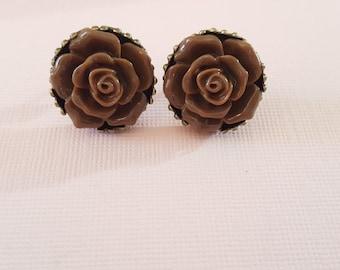 Brown Rose Studs, Rosebud, Chocolate Brown, Posts