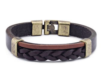 Burkley Leather Wristband in Antique Braid