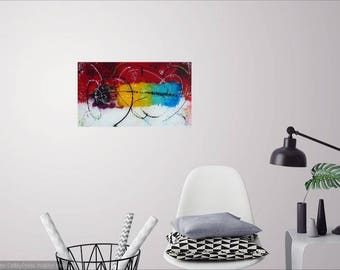 Burst of happiness, abstract art, contemporary painting on plexiglass