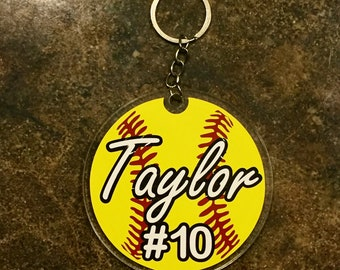 Softball keychain - Bag tag - Custom