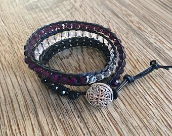 Beaded bracelet, beaded wrap bracelet, leather bracelet, leather wrap bracelet, purple bracelet, black bracelet, crystal bracelet