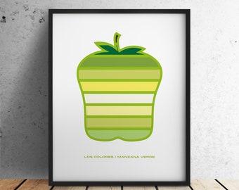 Los Colores: Manzana Verde, Modern Minimal Digital Design/Illustration of a Green Apple