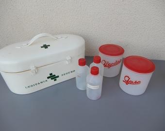 Vintage pharmacy First 1st aid kit original bottles handbag 1960s 50s 60s