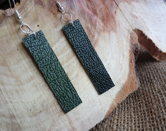 Gorgeous real textured leather green rectangle drop style earrings - dangly / hook / silver plated