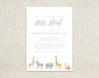 Safari Jungle animals little boy baby shower invitation or birthday invitation