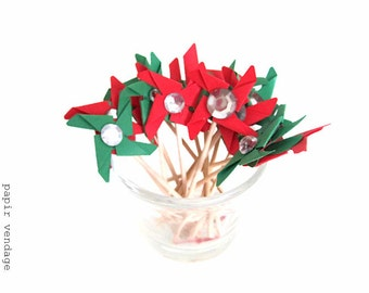 Christmas Pinwheel Cupcake Toppers,  Christmas Cupcake Toppers, Christmas Party Food Decoration, Set of 12, Green & Red Pinwheels, Handmade