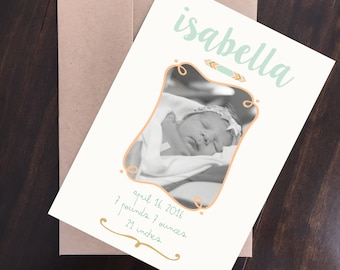 Mint, Coral & Gold Baby Announcement (Digital Download)