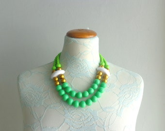 Green white colorful chunky necklace modern tribal statement necklace multi strand