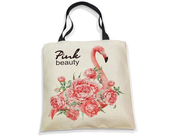 Ecobag Eco-Bag Eco Bag Shopper Bag Nature Gift Beach Bag Everyday Bag Reusable Canvas Cotton Flower Flamingo