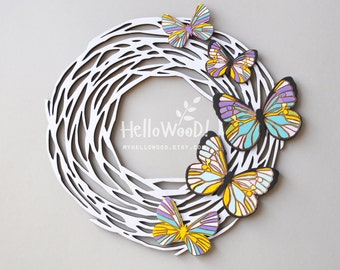Easter Spring Butterfly Wreath Wooden Decoration