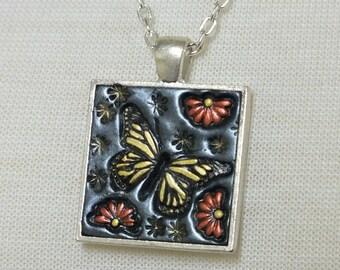 Yellow Monarch Butterfly and Orange Daisy Flowers, Pendant Necklace Polymer Clay Jewelry, Boho Hippie Jewelry