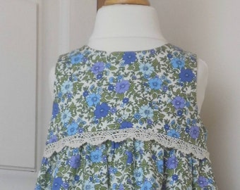 Vintage style blue & purple floral cotton dress with lace trim.  Age 12 months