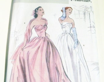 """1950s Gown Wedding Bridal Prom Dress sewing pattern Butterick 4918 Size 14 16 18 20 Bust 36 38 40 42"""" FF"""