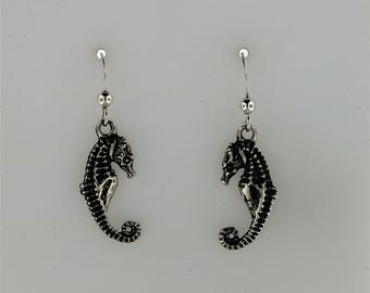 Seahorse Charm Earrings in Sterling Silver