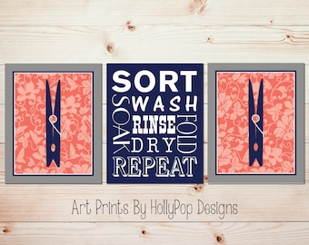 Coral navy home decor art Laundry room art prints Laundry signs Wash dry fold repeat Home art prints Laundry room decor Clothespin art #1694