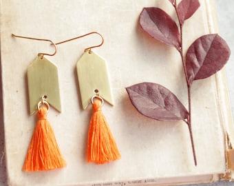 Orange Tassel Earrings, Orange and Gold, Natural Brass Tassel Earrings, Arrowhead, Arrow Earrings