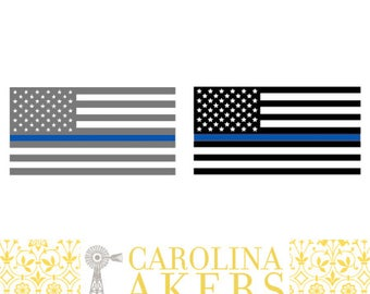 American Flag Blue Line Decal - Blue Line Decal - Police Decal - Law Enforcement Decal - Vinyl Decal - Car Decal - Window Decal - Yeti Decal