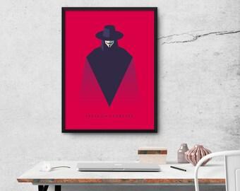 V For Vendetta Minimal Movie Poster Art Print