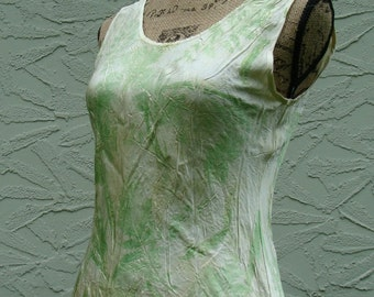 OOAK Garden Print Silk Tank Naturally Dyed  Woman's Size Small
