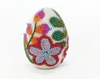 Easter Egg Decorative Beaded Floral One Of A Kind Spring Decoration Housewarming Gift *READY TO SHIP