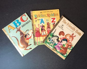 Vintage Little Golden Books , Set of 3 , A B C Rhymes and Riddles, Riddles from A to Z  and The Friendly Book