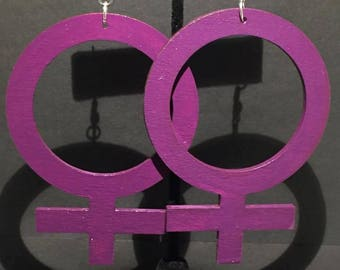 Large Purple Venus Symbol Earrings