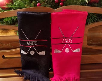 Personalized Golf Towel with Fringe