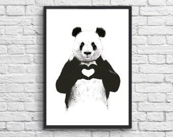 Art-Poster 50 x 70 cm - Panda in love
