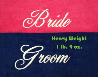 BRIDE & GROOM Beach Towels with Tote Bag THICK Embroidered 100% Cotton Terry Velour Bridal - Couple Shower - Wedding Gifts - Made To Order