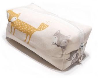 Fox Pencil Case, Fox Makeup Bag, Fox Cosmetic Bag, Fox Pouch, Fox Coin Purse
