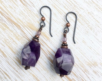 Amethyst Earrings, February Birthstone Earrings, Hypoallergenic Earrings, Niobium Earrings, Boho Chic, Gemstone Jewelry, Amethyst Jewelry