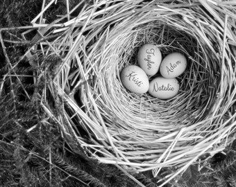 Personalized Wall Art, Grandmother Gift, Gift for Mom, Personalized Bird Nest, Custom Print, Mother Gift, Twins Gift, Baby Gift, Baby Shower