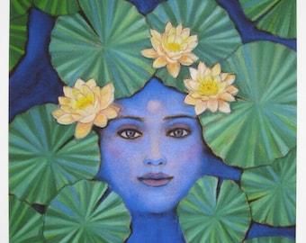 Spiritual art meditation lotus Krishna Hindu blue Buddha print of painting by Sue Halstenberg