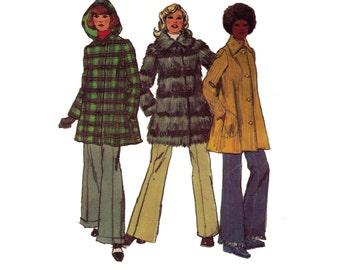 "Simplicity 5191, 70s sewing pattern, size 10 bust 32"" women's topper hooded jacket pattern"