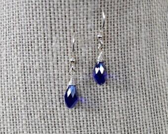 Royal Blue Crystal Teardrop Earrings with Silver Earring Wires