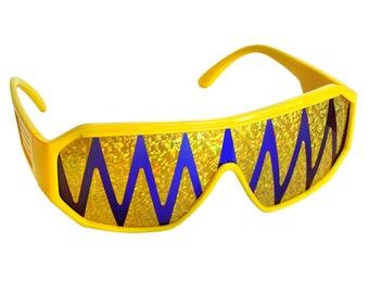 Rasslor Yellow Purple Gold Shark Teeth Shield Sunglasses
