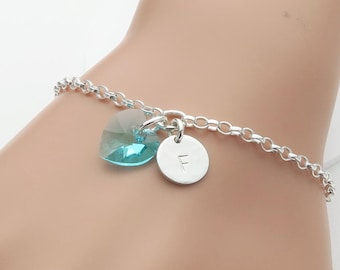 Birthstone Heart Personalised Bracelet - sterling silver, initial and birthstone bracelet