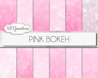 "Bokeh digital papers ""PINK BOKEH"" pink background featuring bokeh for scrapbookers, photography marketing materials, invitations, albums"