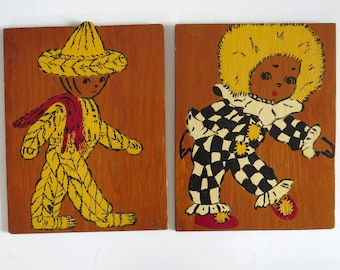 Vintage 50s Hand Painted Wood Panels Mexican Boy & Jester Girl Clown 9x12