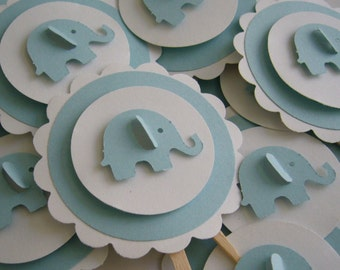 Elephant Cupcake Toppers - Blue and White - Boy Baby Shower - Boy Birthday Party Decorations - Set of 12