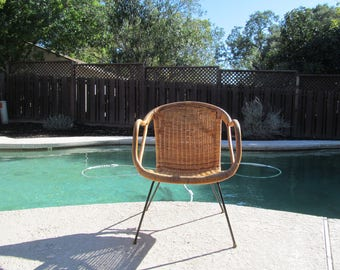 SOLD Mid Century Rattan  and Wicker on Iron Base Chair
