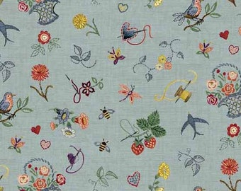 "30 EMBROIDERY GARDEN Blue Sewing Tools Quilt Fabric - Last Piece 30"" x 45"" - Haberdashery by Makower UK"