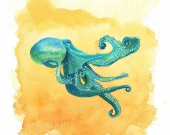 Teal Octopus Watercolor Gouache Art