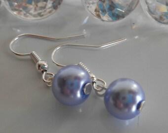 Wedding earrings Lavender beads